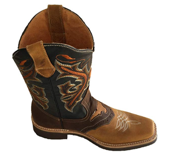 Men's Genuine Cow Hide Leather Cowboy Boots Square Toe Boots Tan/Brown_12