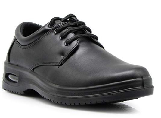 OR4 Mens Black Oil Resistant Anti Slip Restaurant Lace up Oxfords Loafers Working Shoes with Air