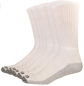 Dickies Men's Dri-Tech Comfort Crew 6-pack Socks (12-15, White gray sole)