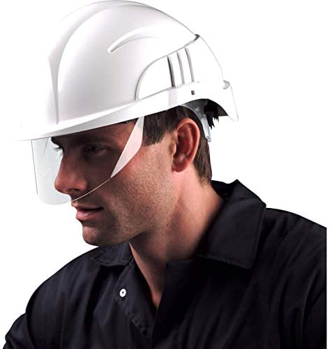 Centurion Vision plus ABS Helmet w/Integrated Retractable Visor/Safety Glasses. Lightweight Design with Ratchet Headband - White