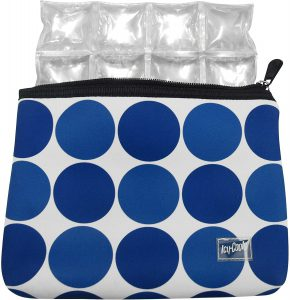 Icy Cools Neoprene Insulated Pouch for Insulin, Medicine, and Makeup - TSA Compliant (Blue Dot)