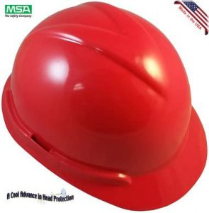 New Version MSA Vangard II Type II Hard Hats with Fas-Trac 3 Suspension - Red Color