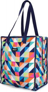 PackIt Freezable Grocery Shopping Tote Bag with Zip Closure, Paradise Breeze.