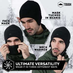 1) Tough Headwear Helmet Liner Skull Cap Beanie with Ear Covers - Ultimate Thermal Retention and Performance Moisture Wicking. Perfect for Running, Cycling, Skiing & Winter Sports. Fits Under Helmets