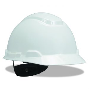 5) 3M Hard Hat, White 4-Point Ratchet Suspension H-701R