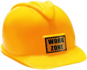 FunLand Construction Worker Helmet for Kids Plastic Hat Dress Up Costume Child Party Hat Yellow, Small